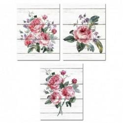 Cuadro x3 Rosas 30x40 cm