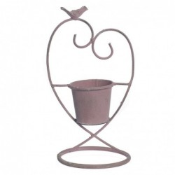 Macetero Metal Corazon Rosa 32 cm