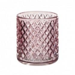 Vaso Portavela Cristal Rosa 8 cm