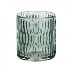Vaso Portavela Cristal Verde 8 cm