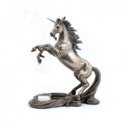Figura Candelabro Resina Unicornio 27 cm