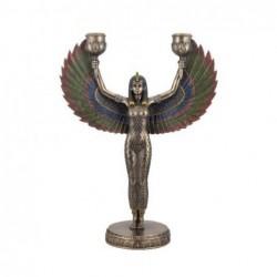 Figura Resina Diosa Egipcia con Candelabro 30 cm