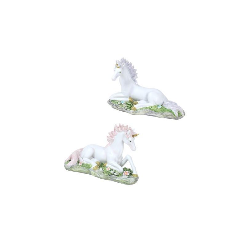 Figura Resina x2 Unicornio 17 cm