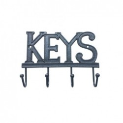 Percha Pared Hierro 4 Pomos Keys 19 cm