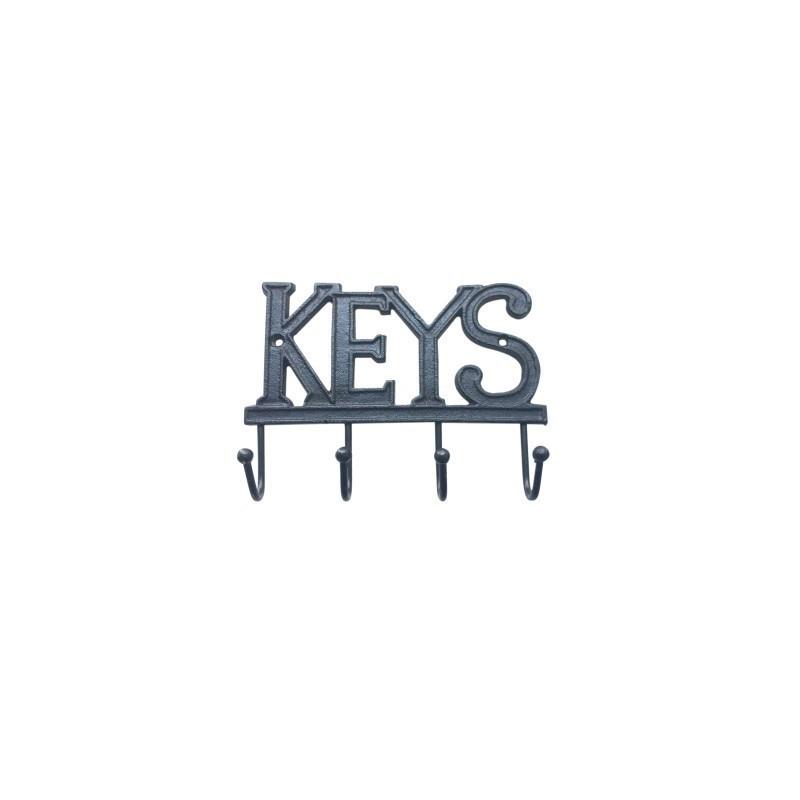 Percha Pared Hierro 4 Pomos Keys 19 cm