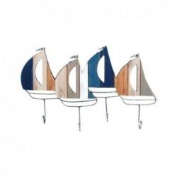 Percha Pared MAdera 4 Pomos Barcos 50 cm