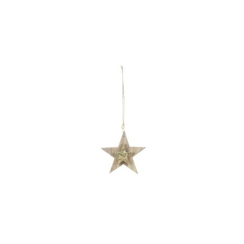 Adorno Colgante Estrella Madera 13 cm