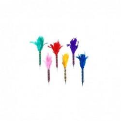 Boligrafo x6 colores Pluma 17 cm