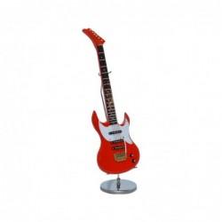 GUITARRA ELECTRICA ROJA MADERA C/STAND H:20CM
