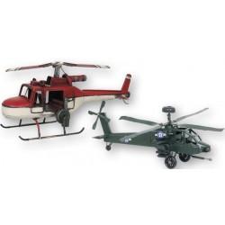 Figura Metal Helicoptero de Combate Retro Rojo 30 cm