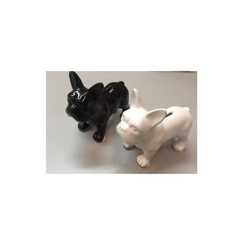 Hucha Resina Perro French Bulldog blanco 17 cm