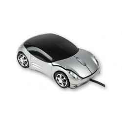 Raton Mouse Optico Coche Deportivo Gris con Luz