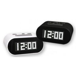 Reloj Despertador Digital Blanco LED Plastico 11 cm