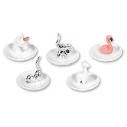 Soporte Anillos Anillero x5 Animales Porcelana 11 cm