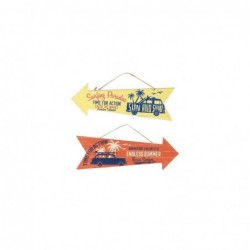 Adorno Decorativo Pared Colgante x2 Flechas Surf Madera 30 cm
