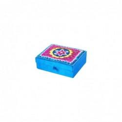 Caja Rectangular Azul Tela 13 cm