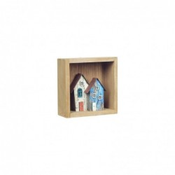 Cuadro Decorativo Madera Casas 13 cm