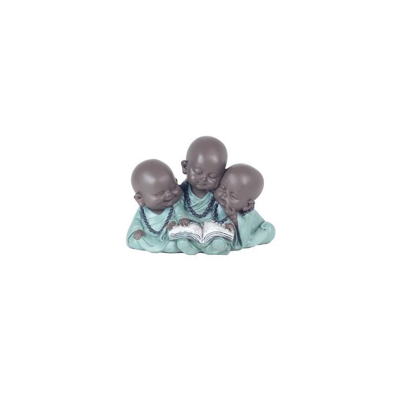 Figura Decorativa 3 Budas Resina 12 cm