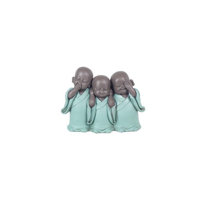 Figura Decorativa 3 Budas Resina 14 cm