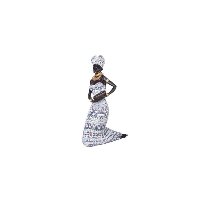 Figura Decorativa Africana Resina 29 cm