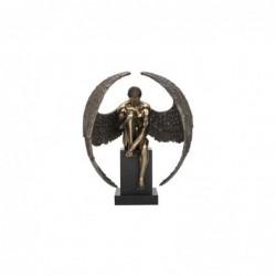 Figura Decorativa Angel Desnudo Pedestal Resina 61 cm