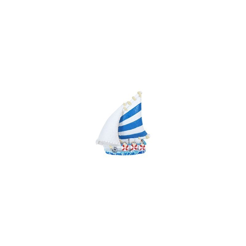 Figura Decorativa Barco Resina Azul 5 cm
