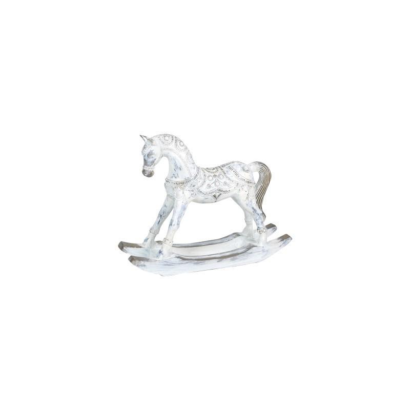 Figura Decorativa Caballo Balancin Madera Blanco 37 cm