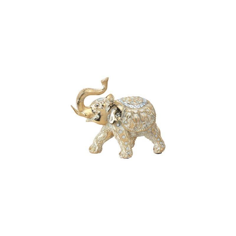 Figura Decorativa Elefante Resina Dorado 18 cm