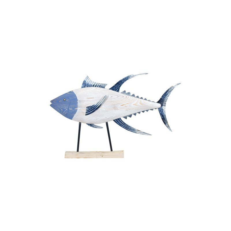 Figura Decorativa Grande Pez Madera Azul 107 cm