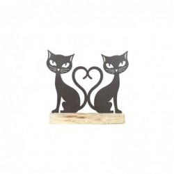 Figura Decorativa Pareja Gatos Metal 26 cm