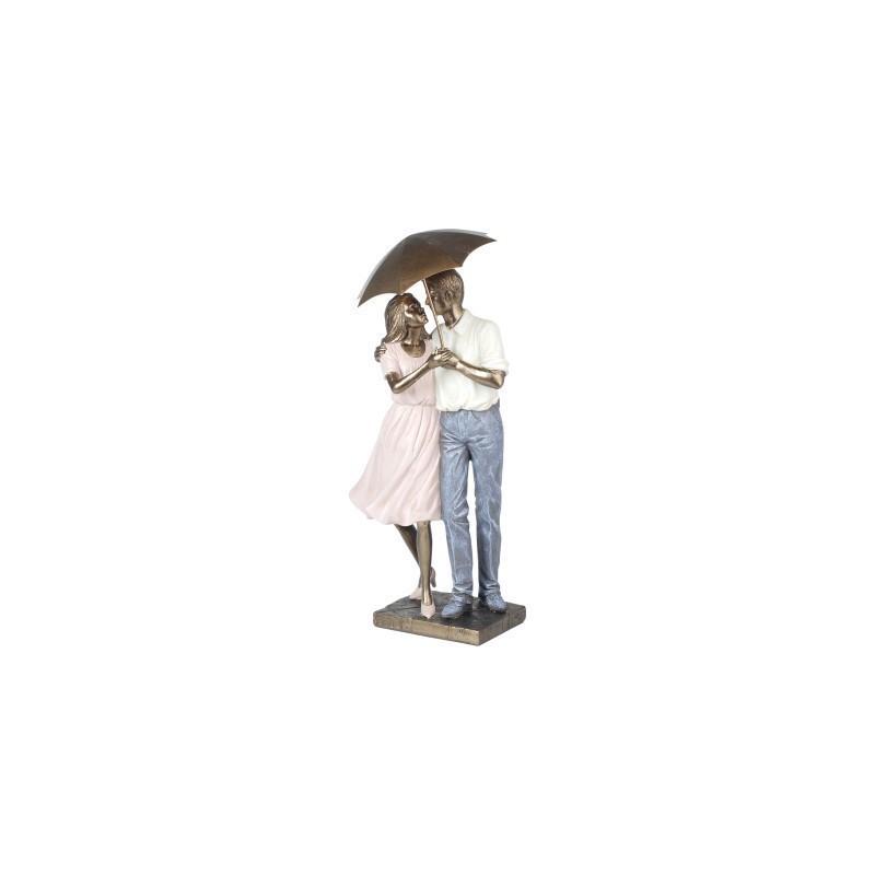 Figura Decorativa Pareja Paraguas Resina 40 cm