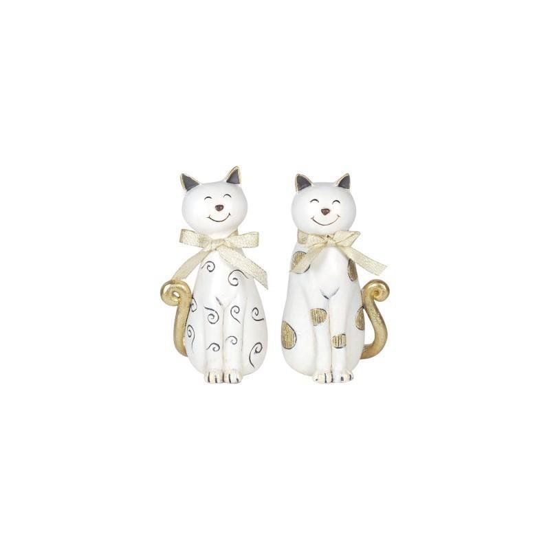 Figura Decorativa x2 Gato Resina 17 cm