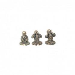 Figura Decorativa x3 Buda Resina 15 cm