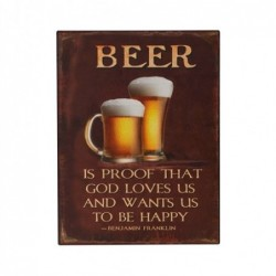 Placa Pared Decorativa Beer 33x25 cm