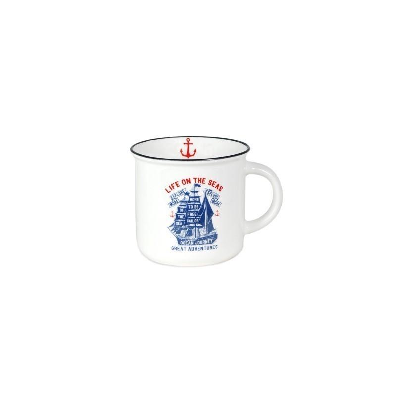 Mug Porcelana Blanco Retro 12 cm