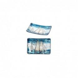 Plato Cristal Decorativo Cristal x2 Barcos 13 cm