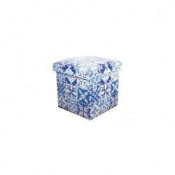 Taburete Caja Plegable DM Azul Mosaico 32 cm