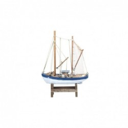 Figura Decorativa Barco Madera Azul 39 cm