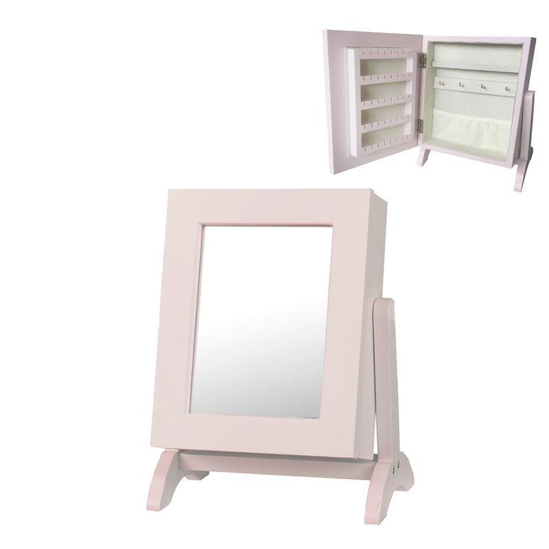 Armario Joyero Espejo Madera Rosa 28 cm