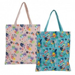 Bolsa de Compra Plegable Tropical x 2 Colores 48 cm