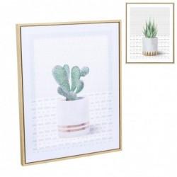Cuadro Marco Madera Cactus 40x50 cm