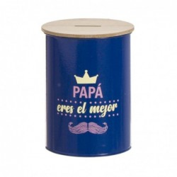Hucha Metal Azul Papa 10 cm