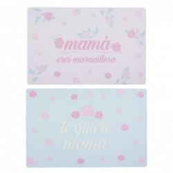 Mantel Individual x2 Colores Plastico Mama 28x43 cm
