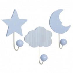 Perchero Pared x3 Infantil Azul 20 cm