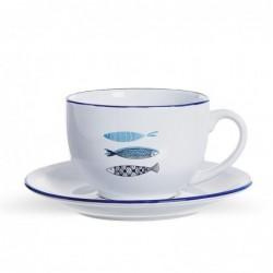 Taza con Plato Ceramica Mediterraneo