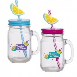 Vaso Mug Jason x2 Colores Lemon 450 ml Cristal