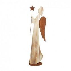 Figura Decorativa Angel Con Estrella  Madera 48 cm