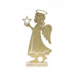 Figura Decorativa Angel Con Estrella Metalica 37 cm