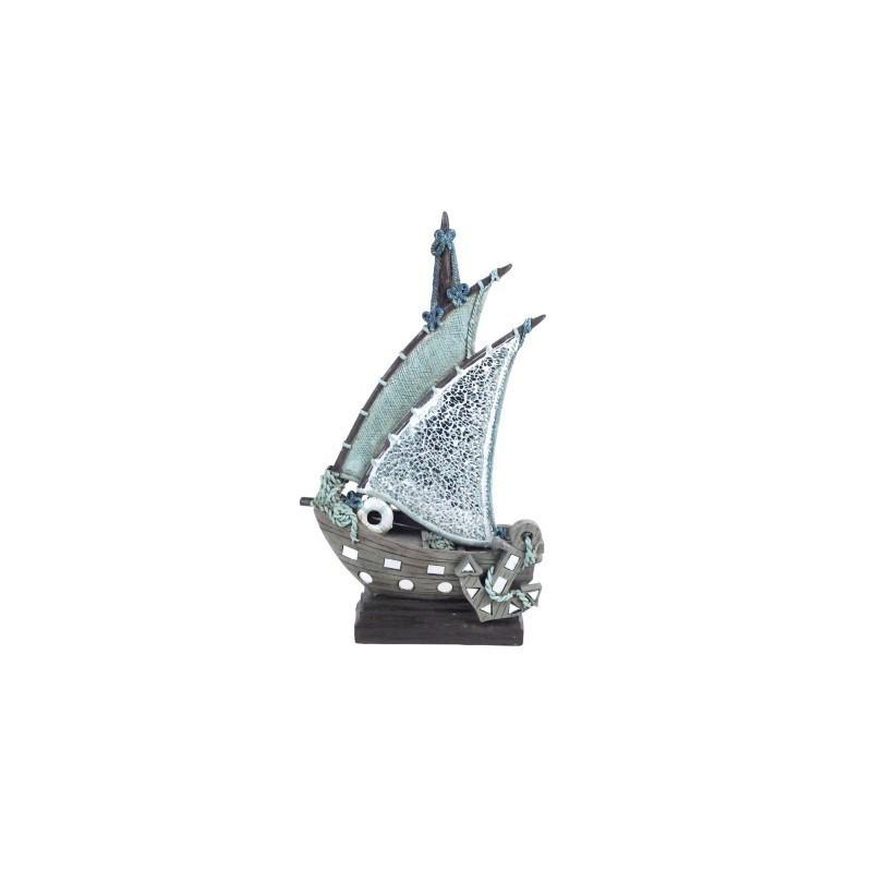 Figura Decorativa Barco Resina 33 cm