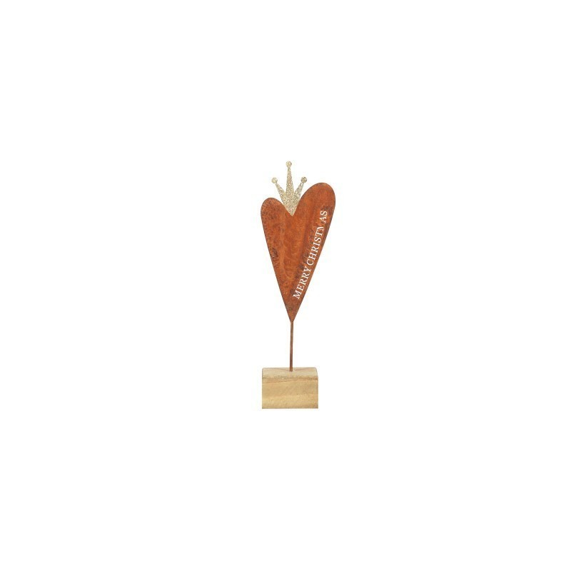 Figura Decorativa corazon Base Madera 29 cm